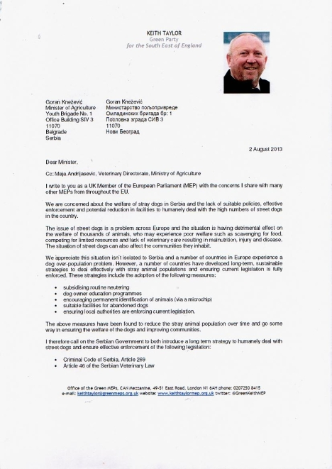 Keith Taylor MEP letter to Serbian government Pg 1