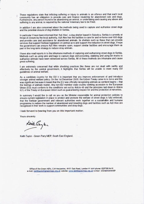 Keith Taylor MEP letter to Serbian government Pg 2
