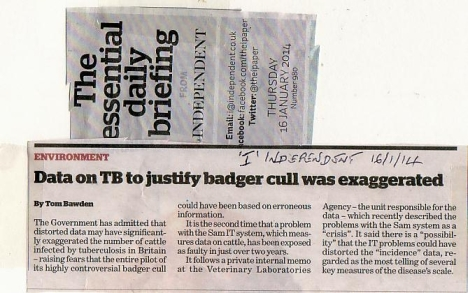 Badger cull I Jan 16 2014