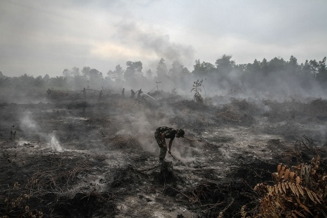 Indonesian military personnel spray water on a burned forest area at Rimbo Panjang Village, Kampar, Riau, Indonesia on Aug. 6. 2015.